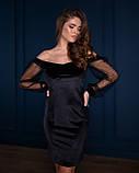 Стильное женское платье мини с открытыми плечами, разные цвета р.44-46,48-50,52-54 Код 1124В, фото 6