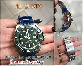 Часы мужские наручные механические с автоподзаводом Rolex Submariner AAA Date Silver-Green реплика ААА класса