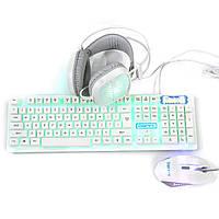 3-в-1 USB дротова клавіатура миша 1600dpi барвисті гарнітури ігровий набір з підсвічуванням механічна