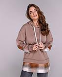 Батник женский удлиненный теплый трехнить, зимний, разные цвета, р.42-44,46-48,50-52 Код 1128В, фото 9