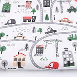 """Лоскут ткани """"Автодорога с серо-зелёными машинками"""", фон - белый, №2962, размер 46*80 см, фото 2"""