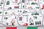 """Лоскут ткани """"Автодорога с серо-зелёными машинками"""", фон - белый, №2962, размер 46*80 см, фото 3"""