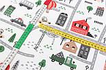 """Лоскут ткани """"Автодорога с серо-зелёными машинками"""", фон - белый, №2962, размер 46*80 см, фото 4"""