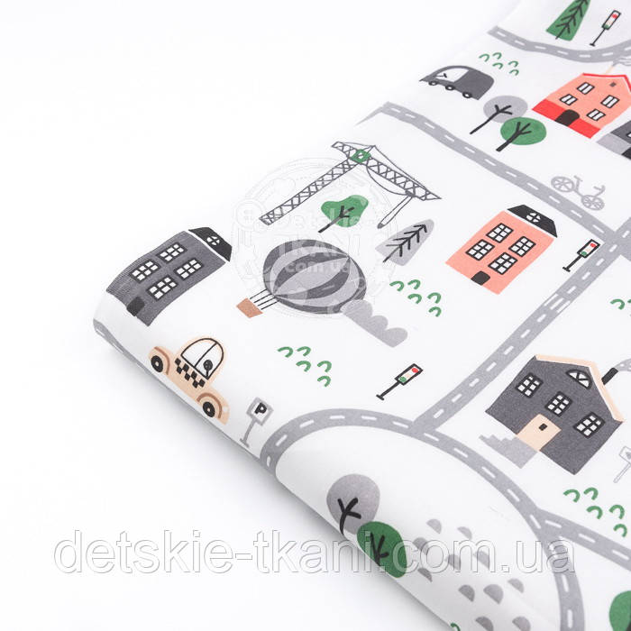"""Лоскут ткани """"Автодорога с серо-зелёными машинками"""", фон - белый, №2962, размер 46*80 см"""