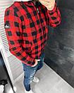 Мужская осенняя куртка в клетку красная, фото 3