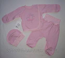 Комплект для новорожденных на выписку розовый Мышка футер (3 единицы) (Маленькие люди, Украина)
