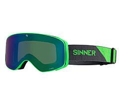Маска гірськолижна Sinner OLYMPIA Matte Neon Green-Full Green Mir