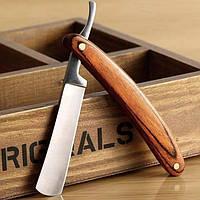 Опасная бритва Qshave из высокоуглеродистой стали с деревянной ручкой