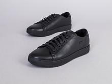 Кеды мужские кожаные черного цвета зимние