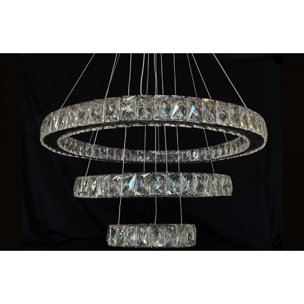 Хрустальная светодиодная люстра кольца A7201W/650+400+200