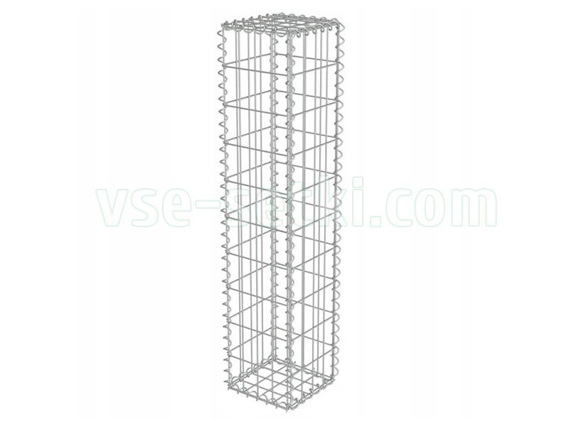 Столб габионный 300х300х2000 мм(монтаж на спиралях), ячейка 100х50 мм.
