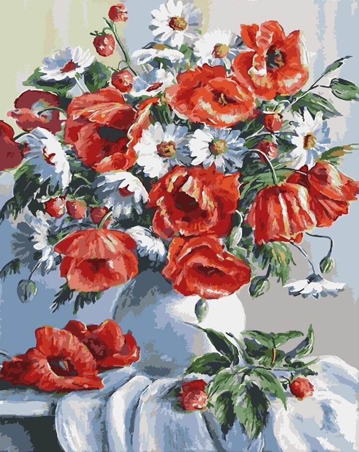 Картина рисование по номерам Brushme Маки и ромашки 40х50см рисование роспись по номерам, кисти, краски, холст