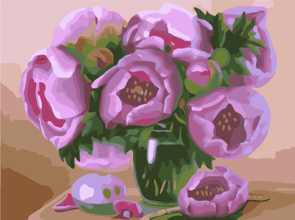 Картина рисование по номерам Brushme Нежные пионы 40х50см рисование роспись по номерам, кисти, краски, холст