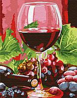 Картина рисование по номерам Brushme Бокал красного полусладкого 40х50см рисование роспись по номерам, кисти,