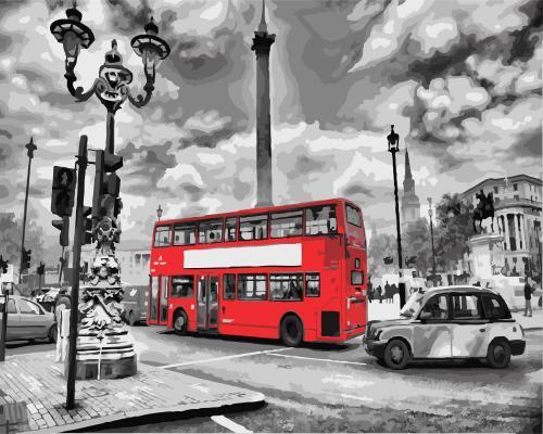Картина рисование по номерам Brushme Лондонский автобус     BK-GX8246 набор для росписи, краски, кисти, холст