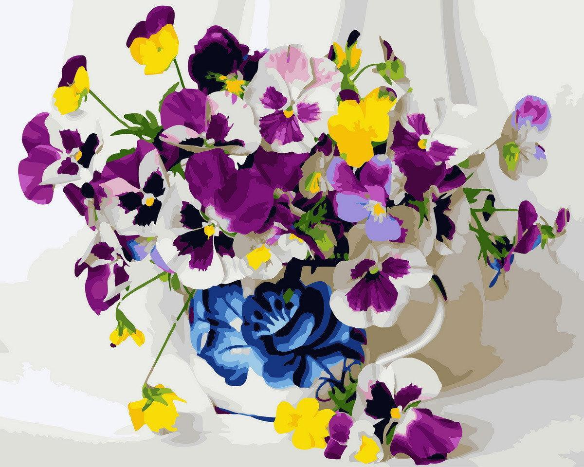 Картина рисование по номерам Brushme Фиалки GX29810 40х50см     BK-GX29810 набор для росписи, краски, кисти,