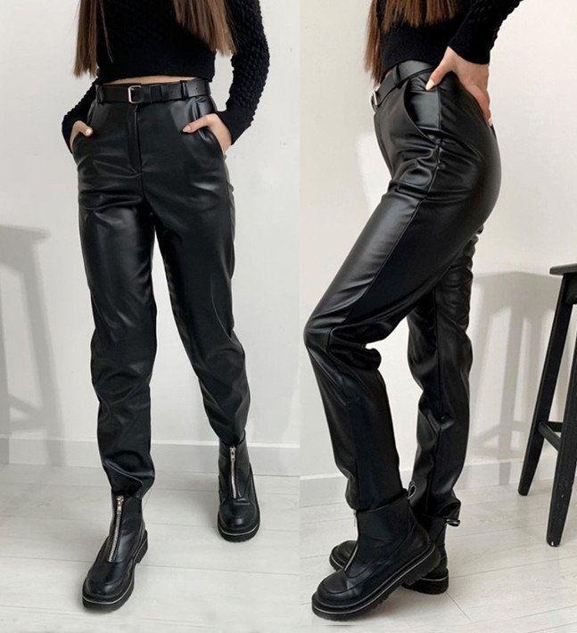 """Женские брюки кожаные на флисе """"Muse""""  Норма, черный"""