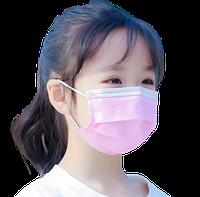 Детская медицинская маска одноразовая розовая (3 слоя, прослойка мельтблаун)