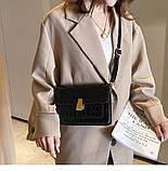 Женская классическая сумка на ремешке через плечо рептилия черная, фото 3