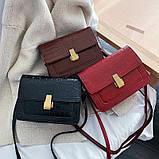 Женская классическая сумка на ремешке через плечо рептилия черная, фото 5