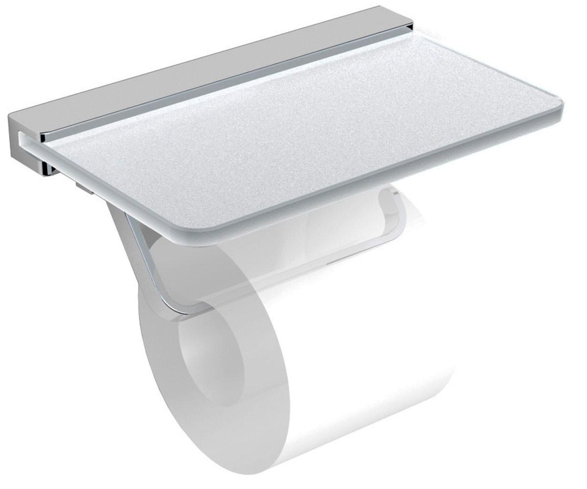 Держатель туалетной бумаги с полочкой матовое стекло Volle Teo 15-88-446 хром