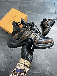 Женские кроссовки Louis Vuitton Arclight Monogram Black (коричневые)