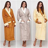 Довгий  жіночий халат на запах  махра, фото 1