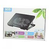 Охлаждающая подставка для ноутбуков Notebook Cooling Pad N99 Чёрный с красным, фото 3