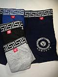 Боксерки, шорты Vericoh 194B на спортивной широкой резинке. Синие, серые, чёрные мужские трусы Верикон, хл-4хл, фото 2