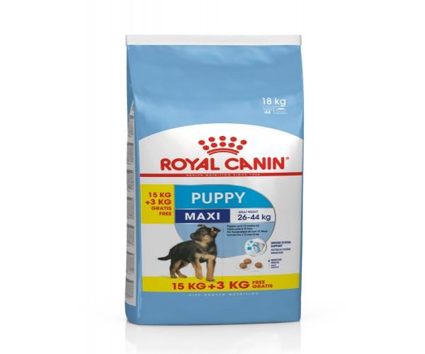 Корм для щенков собак крупных пород 15+3кг, Royal Canin Maxi Puppy