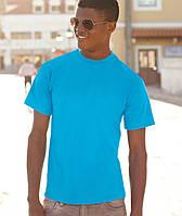 Мужская однотонная голубая футболка