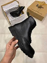 Женские ботинки зимние Dr Martens 1460 Triple Black (мех) (черный)