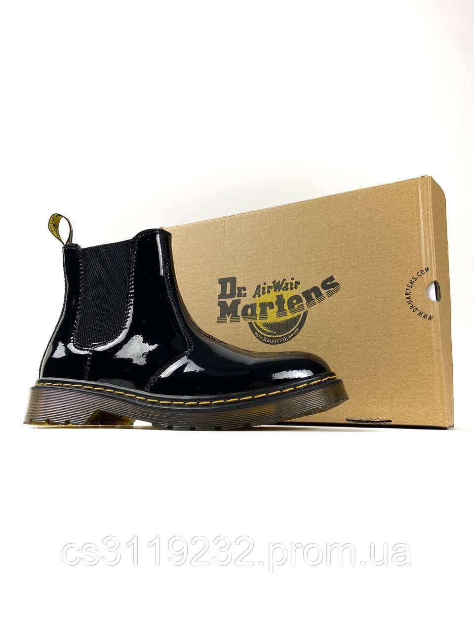 Женские ботинки зимние Dr.Martens Сhelsea Patent Black (Термо) (черный)