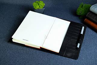 """Обкладинка для блокнот А5 """"Модель № 1"""", Шкіра Італійський краст, колір Чорний, Відбиток №2, фото 2"""