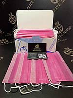 Розовые маски 50 штук в упаковке. Лучшее качество на рынке! 3 слоя. Мельтблаун