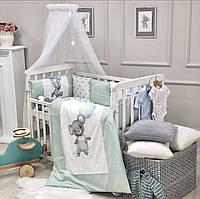 Комплект в кроватку Kids Toys Мышонок, мятный с голубым, фото 1