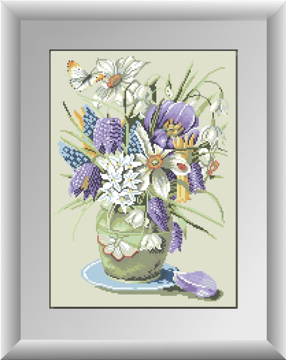 Алмазная мозаика Весенние цветы Dream Art 30215 34x47см 25 цветов, квадр.стразы, полная зашивка. Набор