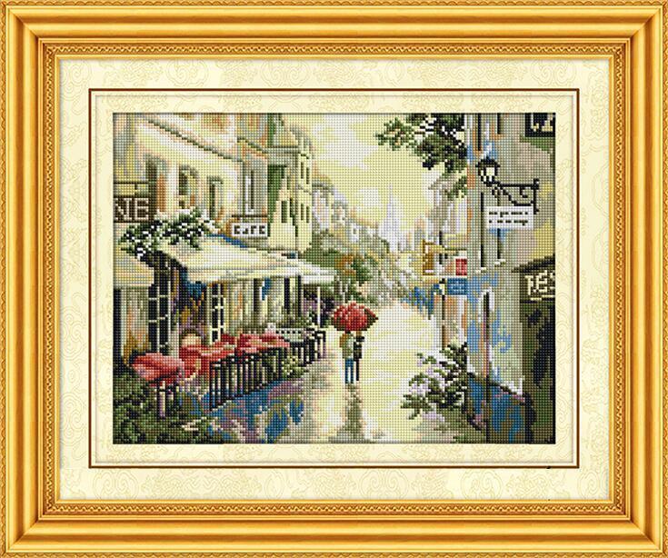 Алмазная мозаика Дождливый вечер в Париже Dream Art 30134 33x33см 14 цветов, квадр.стразы, полная зашивка.