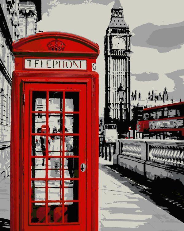 Картина рисование по номерам Чарівний діамант Черно-белый Лондон РКДИ-0013 40х50см набор для росписи, краски,