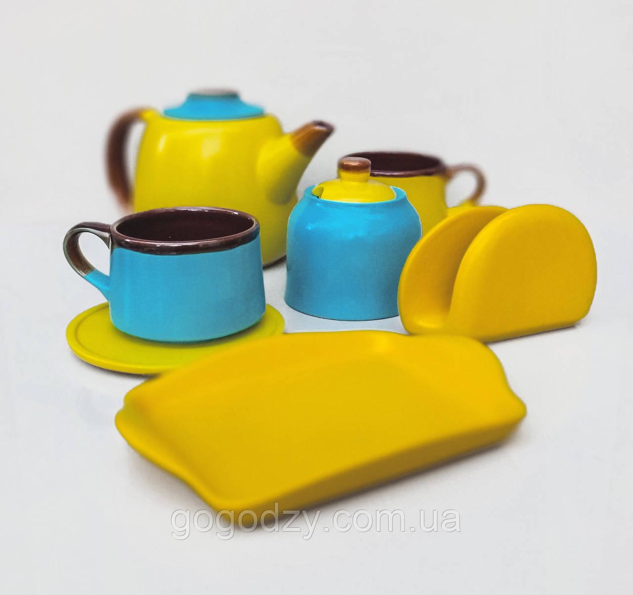 Чайний набір жовто-блакитний на 2 особи