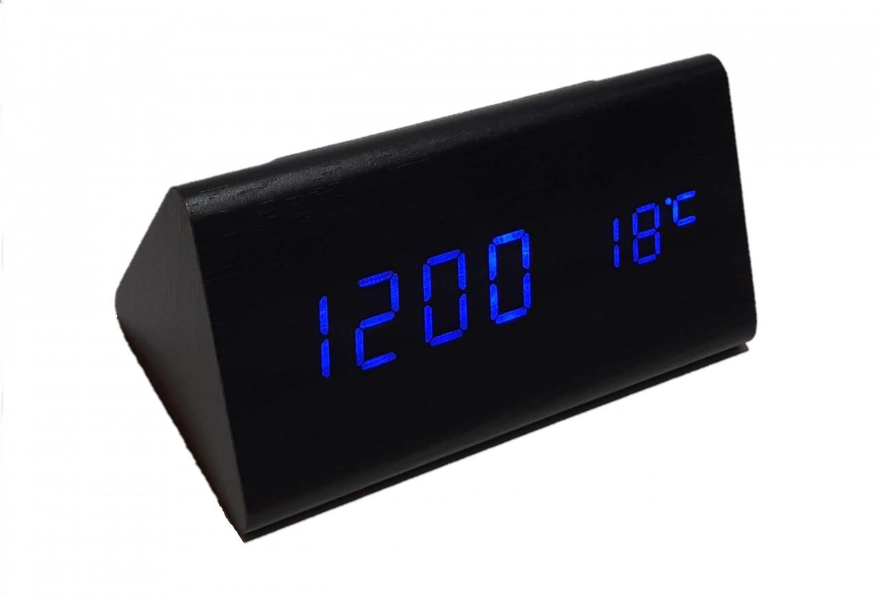 Часы VST-861-1 синие,температура, дата, будильник.
