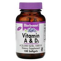 Витамины A и D3, Bluebonnet Nutrition, 100 гелевых капсул, фото 1