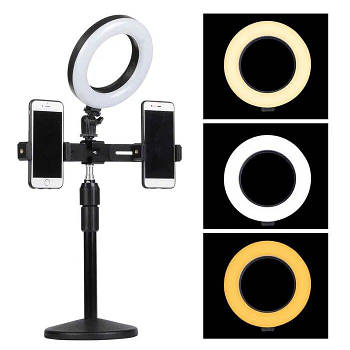 Кольцевая Led лампа настольная 16 см. с двумя держателями