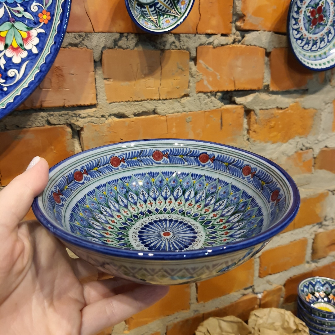 Глубокая тарелка ~450 мл. Ручная работа. Узбекистан (17_3)