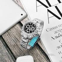 Часы мужские наручные механические с автоподзаводом Rolex Daytona Metal Automatic Silver-Bl реплика ААА класса, фото 3