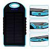 Универсальная мобильная батарея 12000 mAh, Power Bank, Black/Blue, солнечная панель (5V/200mA), 2xUSB, 5V/1A/1