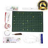 Набор для пэчворка и квилтинга 15 ед 2 коврика А3 + А4 мат лекало дисковый нож для шитья, фото 4