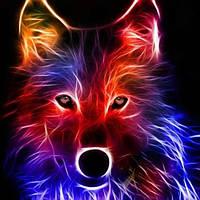 """Алмазная мозаика стразами на подрамнике """"Неоновый волк"""" 30*30 см."""