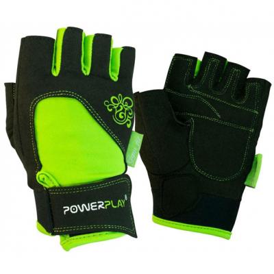 Рукавички для фітнесу PowerPlay 1728 Чорно-Зелені XS SKL24-144423