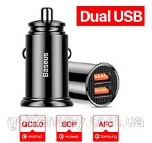 АЗУ Автомобильное зарядное устройство BASEUS Circular Plastic A+A PPS  2USB, 5A, QC 3.0  (black)